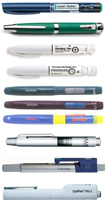 Various Insulin Pens