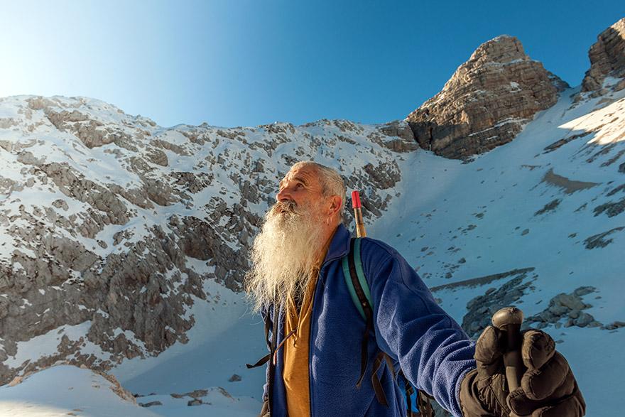 Man on snowy mountain