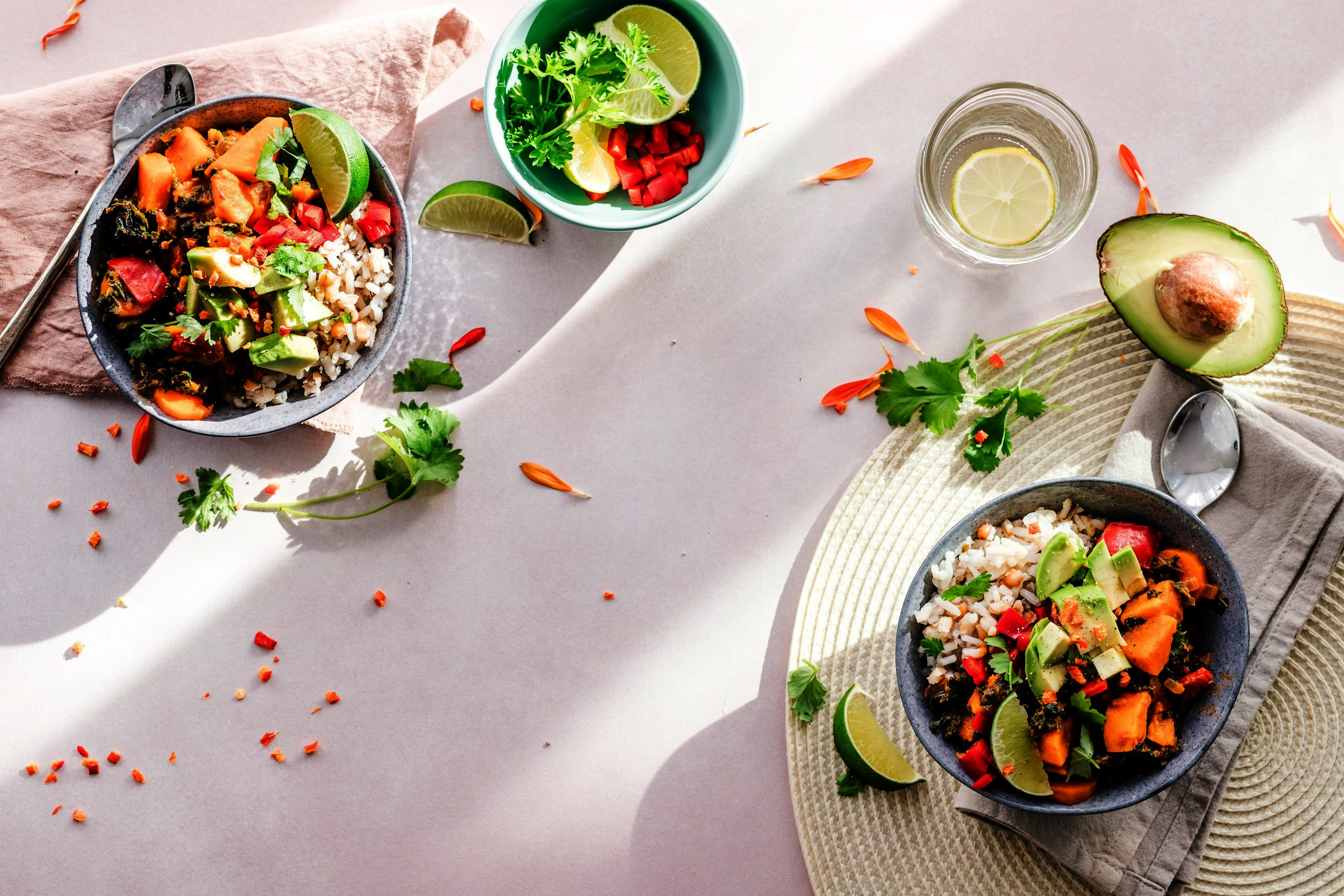 Salads on a table